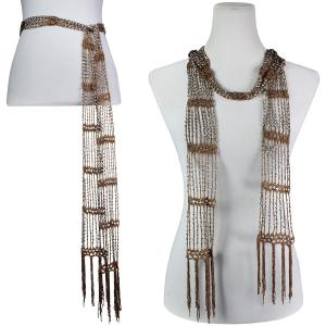 Wholesale  Chocolate w/ Silver Beads Shanghai Beaded Scarf/Sash -