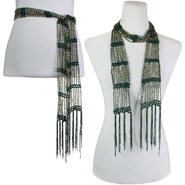 wholesale Shanghai Beaded Scarves/Sash   Moss green w/ Gold Beads -