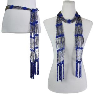Wholesale  Royal w/ Gold Beads Shanghai Beaded Scarf/Sash -