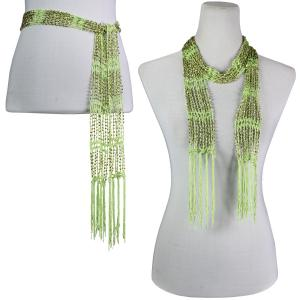 Wholesale  Celery w/ Gold Beads Shanghai Beaded Scarf/Sash -