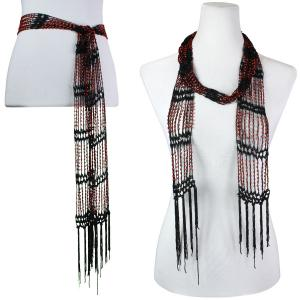 wholesale Shanghai Beaded Scarves/Sash   Black w/ Red Beads -