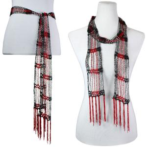 wholesale Shanghai Beaded Scarves/Sash   Black-Red w/ Silver Beads -