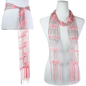Wholesale  Salmon Mousse w/ Silver Beads Shanghai Beaded Scarf/Sash -