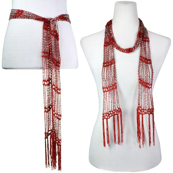 wholesale Shanghai Beaded Scarves/Sash   Rust w/ Silver Beads (23) -