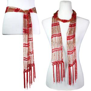 Wholesale  Red w/ Gold Beads Shanghai Beaded Scarf/Sash -