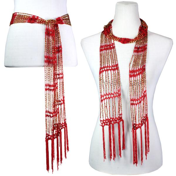 wholesale Shanghai Beaded Scarves/Sash   Red w/ Gold Beads Shanghai Beaded Scarf/Sash -