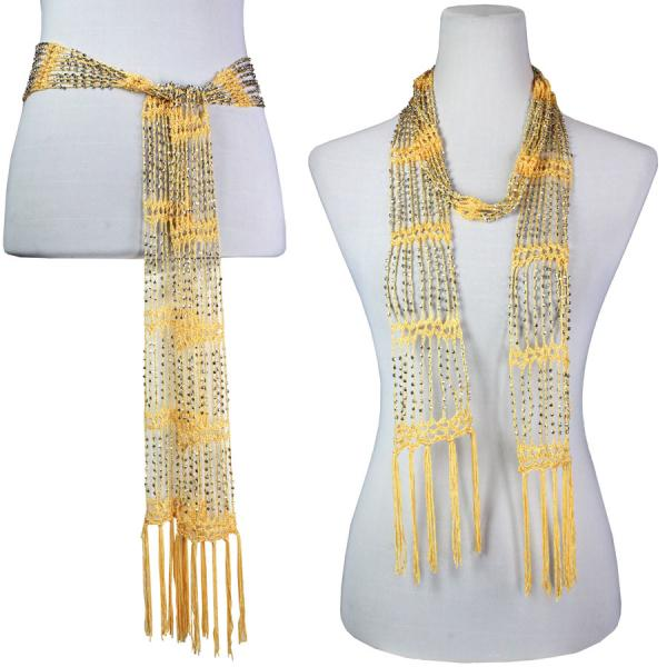 wholesale Shanghai Beaded Scarves/Sash   Maize w/ Silver Beads -