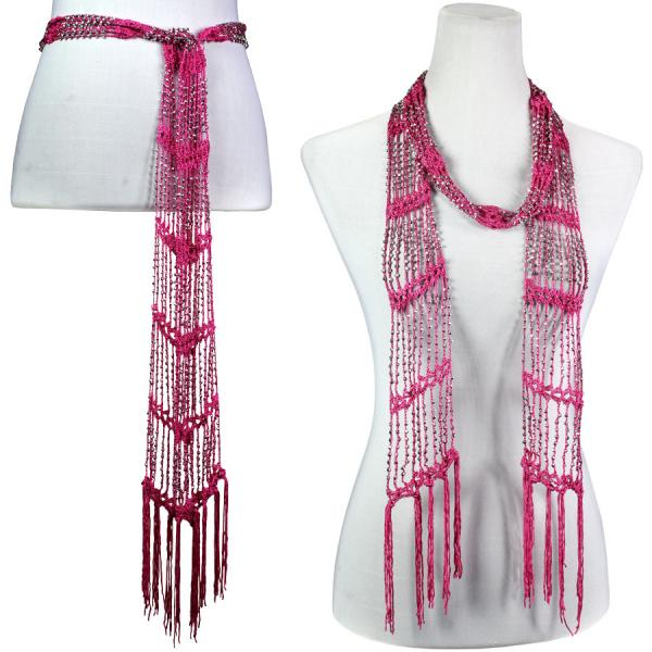 wholesale Shanghai Beaded Scarves/Sash   Hot Pink w/ Silver Beads -