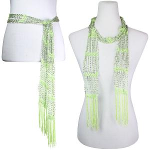 wholesale Shanghai Beaded Scarves/Sash   Lime w/ Silver Beads (9) -