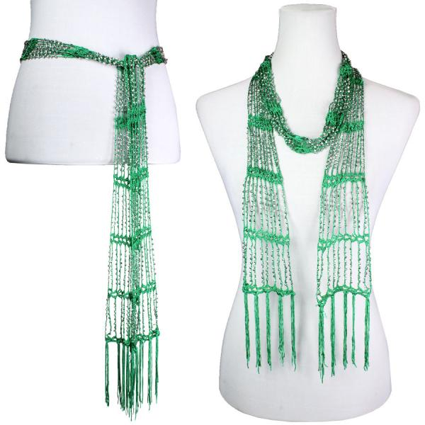 wholesale Shanghai Beaded Scarves/Sash   Kelly Green w/ Silver Beads -