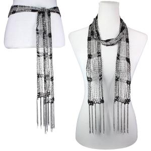 wholesale Shanghai Beaded Scarves/Sash   Black-Grey w/ Silver Beads -