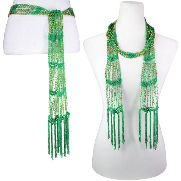 wholesale Shanghai Beaded Scarves/Sash   Kelly Green w/ Gold Beads -