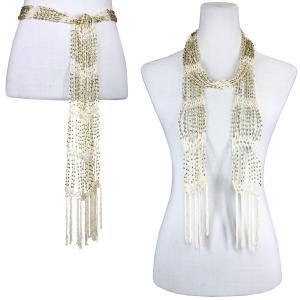 Wholesale  Light Beige w/ Gold Beads Shanghai Beaded Scarf/Sash -