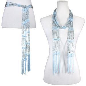 wholesale Shanghai Beaded Scarves/Sash   Light Blue w/ Silver Beads -
