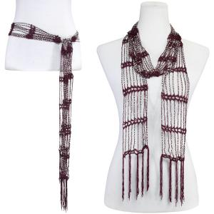 Wholesale  Merlot w/ Silver Beads Shanghai Beaded Scarf/Sash -