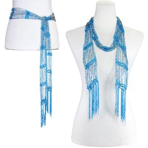 Wholesale  Azure w/ Silver Beads Shanghai Beaded Scarf/Sash -