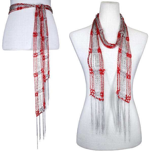 wholesale Shanghai Beaded Scarves/Sash   Scarlet-Grey w/ Silver Beads -