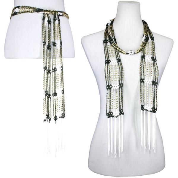 wholesale Shanghai Beaded Scarves/Sash   Deep Green-White w/ Gold Beads -