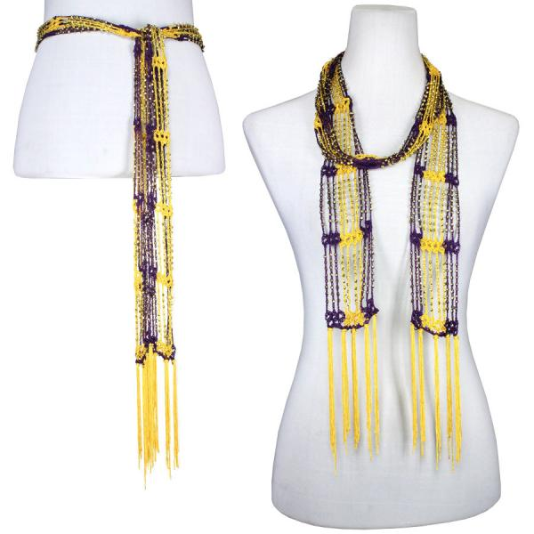 wholesale Shanghai Beaded Scarves/Sash   Eggplant-Bright Gold w/ Gold Beads -