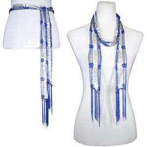 wholesale Shanghai Beaded Scarves/Sash   Blue-White w/ Silver Beads -