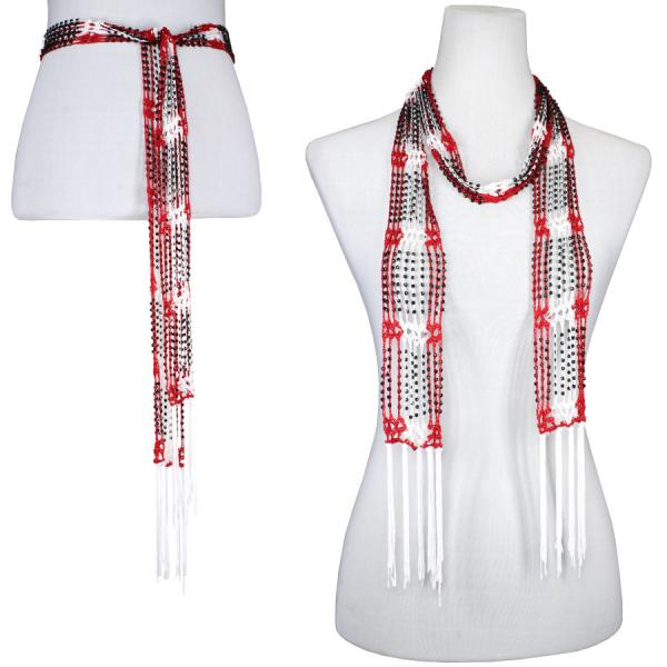 wholesale Shanghai Beaded Scarves/Sash   Red-White w/ Black Beads -