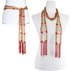 wholesale Shanghai Beaded Scarves/Sash   Dark Red-Gold w/ Gold Beads -