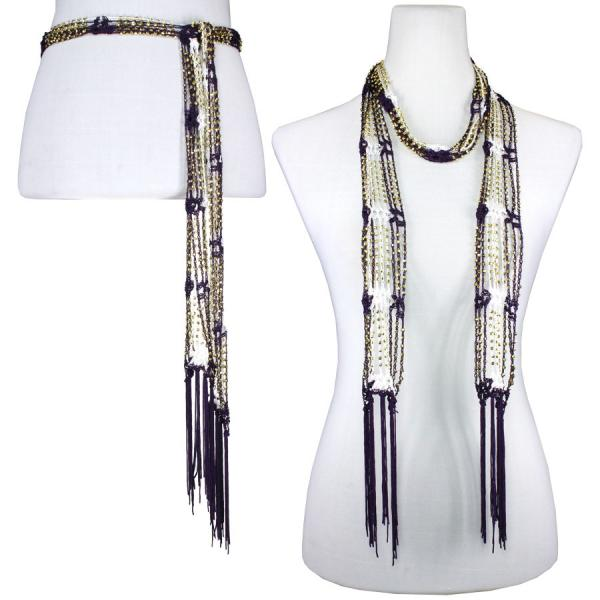 wholesale Shanghai Beaded Scarves/Sash   Deep Plum-White w/ Gold Beads -