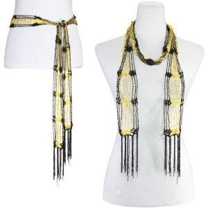 wholesale Shanghai Beaded Scarves/Sash   Black-Gold w/ Gold Beads -