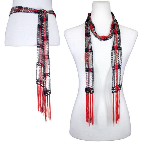 wholesale Shanghai Beaded Scarves/Sash   Deep Steel Blue-Red w/ Silver Beads -
