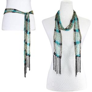 wholesale Shanghai Beaded Scarves/Sash   Black-Teal w/ Gold Beads -