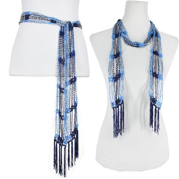 wholesale Shanghai Beaded Scarves/Sash   Powder Blue-Navy w/ Silver Beads -