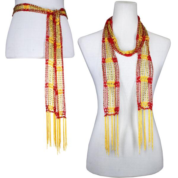 wholesale Shanghai Beaded Scarves/Sash   Red-Bright Gold w/ Gold Beads -