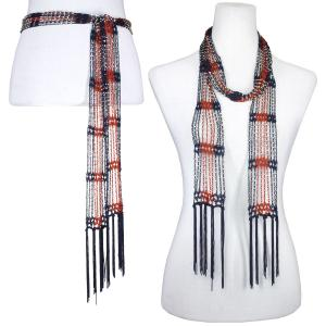 Wholesale  Dark Navy-Burnt Orange w/ Silver Beads Shanghai Beaded Scarf/Sash -