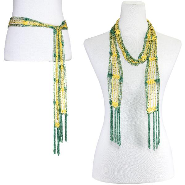 wholesale Shanghai Beaded Scarves/Sash   Kelly Green-Bright Gold w/ Gold Beads -