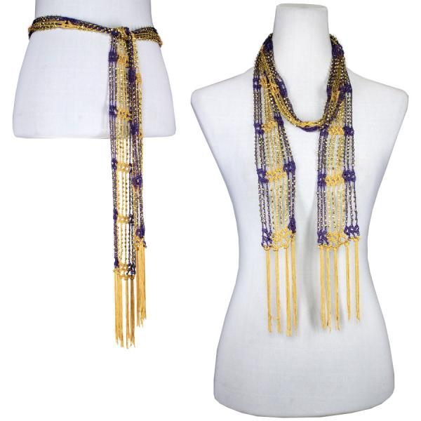 wholesale Shanghai Beaded Scarves/Sash   Purple-Gold w/ Gold Beads -