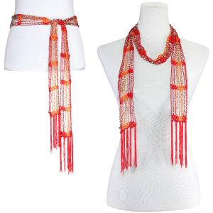 wholesale Shanghai Beaded Scarves/Sash   Red-Orange w/ Silver Beads -