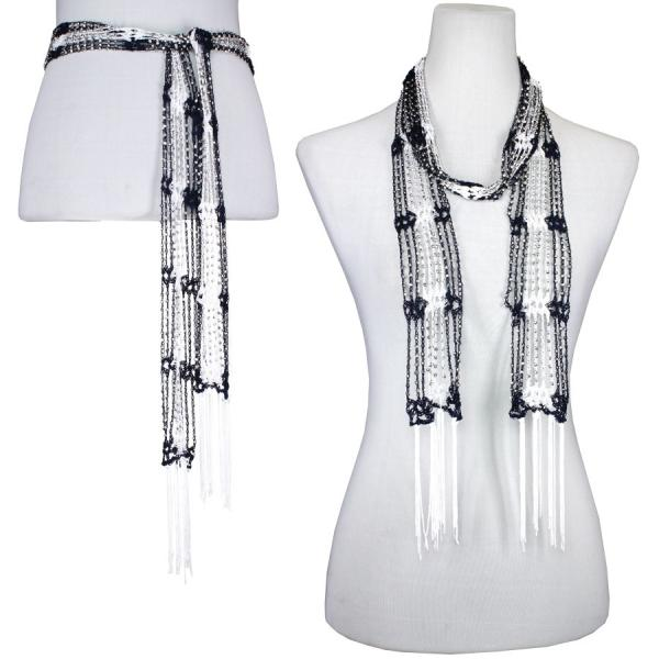 wholesale Shanghai Beaded Scarves/Sash   Navy-White w/ Silver Beads -