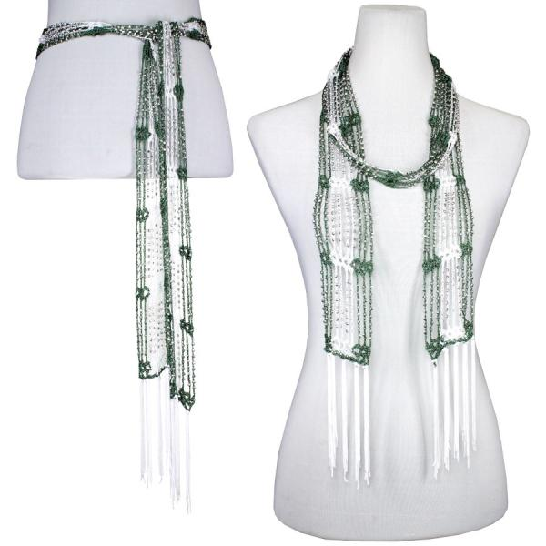 wholesale Shanghai Beaded Scarves/Sash   Forest Green-White w/ Silver Beads -