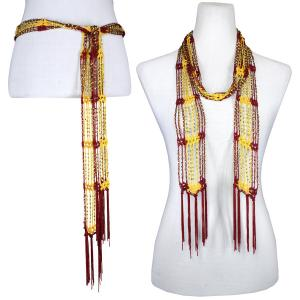 wholesale Shanghai Beaded Scarves/Sash   Burgundy-Gold w/ Gold Beads -