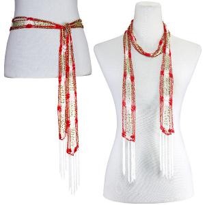 Wholesale  Red-White w/ Gold Beads Shanghai Beaded Scarf/Sash -