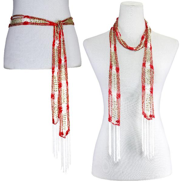 wholesale Shanghai Beaded Scarves/Sash   Red-White w/ Gold Beads Shanghai Beaded Scarf/Sash -