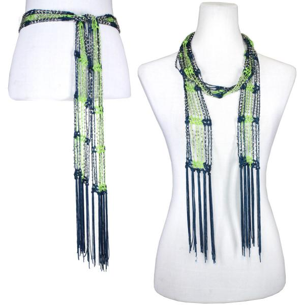 wholesale Shanghai Beaded Scarves/Sash   Navy-Lime w/ Silver Beads -