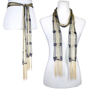 wholesale Shanghai Beaded Scarves/Sash   Navy-Antique Gold w/ Gold Beads -