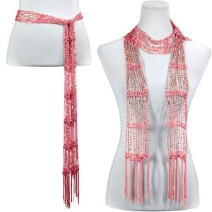 wholesale Shanghai Beaded Scarves/Sash   Dusty Rose w/ Silver Beads (12) -