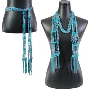 wholesale Shanghai Beaded Scarves/Sash   Dark Turquoise w/ Silver Beads -