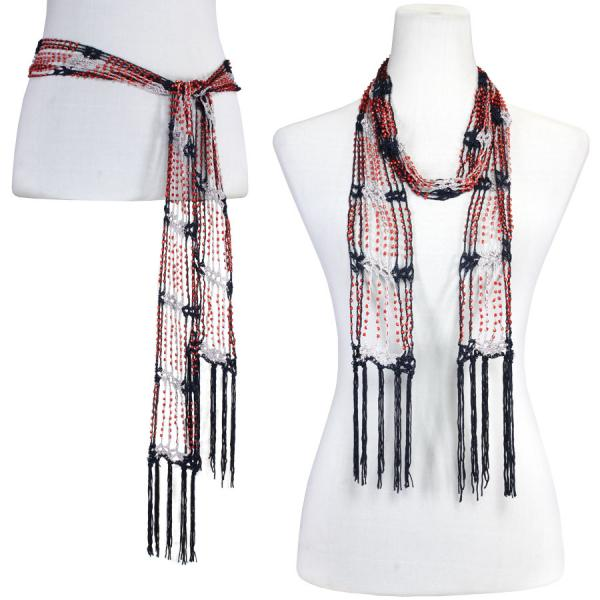 wholesale Shanghai Beaded Scarves/Sash   Navy-Silver w/ Red Beads -