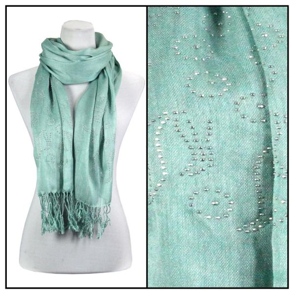 wholesale Oblong Scarves - Studded Sun 3179 Mint -