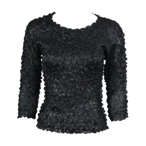 Wholesale  Black Satin Petal Shirt - 3/4 Sleeve w/ Sequins - One Size (S-XL)