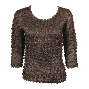 Wholesale  Brown Satin Petal Shirt - 3/4 Sleeve w/ Sequins - One Size (S-XL)