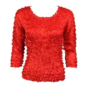 wholesale Satin Petal Shirts - 3/4 Sleeve w/ Sequins Red - One Size (S-XL)